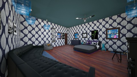 Blue dream room - Retro - Bedroom - by AURORA SCOTT ALLEN