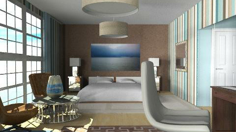 blue -brown  - Eclectic - Bedroom  - by chania