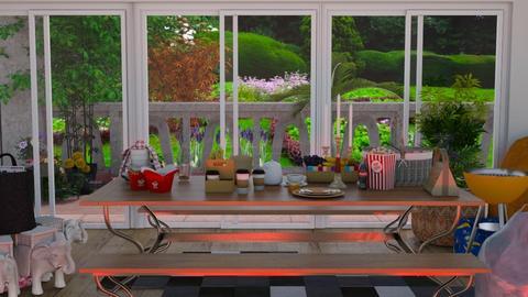 PicnicDiningRoomRedLight - Dining room  - by prasad wijesinghe