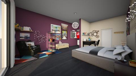 Purple and Cream Bedroom - Bedroom  - by Niela Pureflamme
