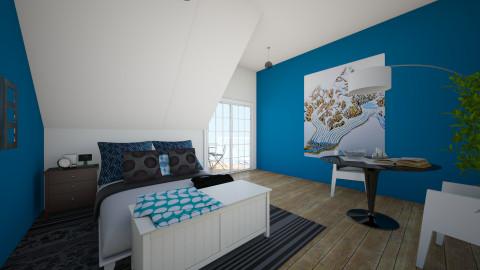 Bedroom Blue  - Bedroom - by Olga Kluk