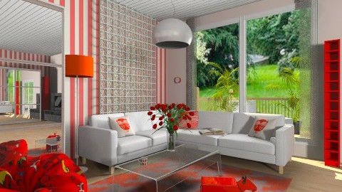 white and red living room - Modern - Living room - by heyimsonia