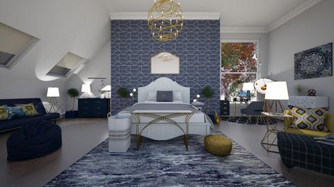 Bedroom blue and gold  - Classic - Bedroom  - by MekhiKalaukoa