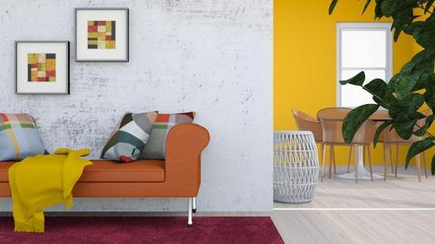 Concrete and Orange - Retro - Living room  - by kamonela09