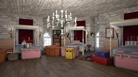 Gryffindor Girls Dorms - Bedroom - by AngieDrws