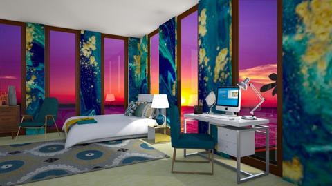 Teal and Metal Bedroom - Modern - Bedroom - by designcat31