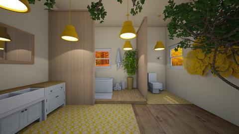 Orange and White Bathroom - Bathroom  - by dogsrmylife