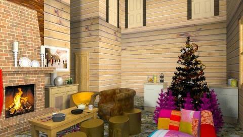 Quebec Log House - Rustic - Living room  - by kaanertas