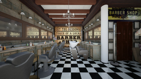 barber basement shop - Vintage - by Evangeline_The_Unicorn