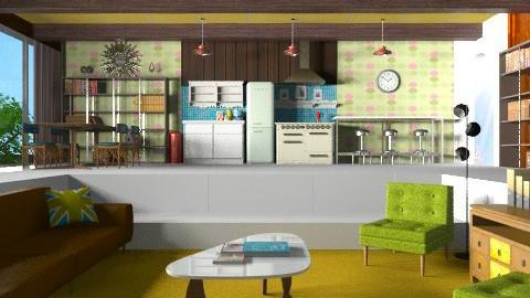 Orange great room - Retro - Living room  - by ec2190