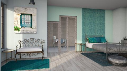 turquoise metal bedroom - Bedroom - by Moonpearl