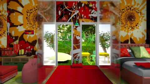 red green yellow - Kids room  - by India Arwyn