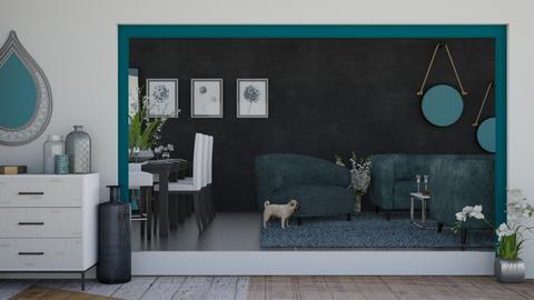 Teal_Black_White - Living room  - by KittyT6