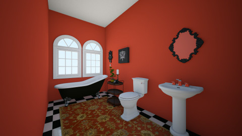 Red Black and White - Bathroom - by Wendy Broyles