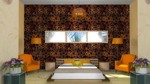 orange budoir - Retro - Bedroom  - by Nicky West