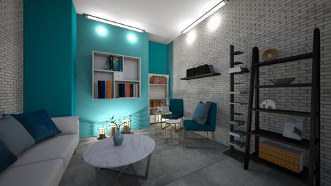 Teal and white - Living room  - by Meghan White