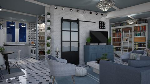 Design 424 Living Room Kitchen in Blue - Kitchen - by Daisy320