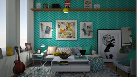 teal and metal - Living room - by i123qwerty