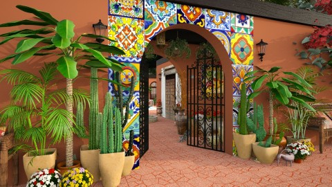 Design 205 Hacienda Entrance - Garden  - by Daisy320