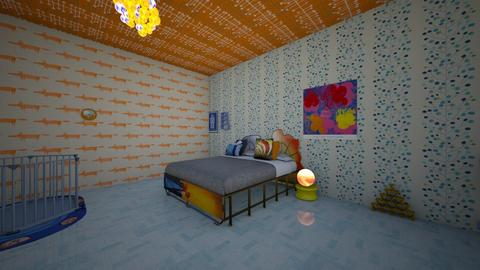 orange and blue bedroom - Bedroom - by moderngirl12