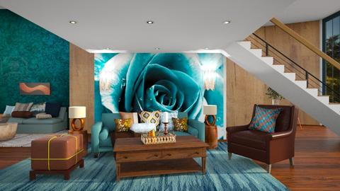 Turquoise and Copper - Living room  - by Feeny