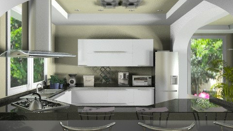 modern green kitchen - Modern - Kitchen  - by KittiFarkas