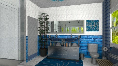 Porcelain and blue tiles - Modern - Bathroom  - by Bibiche