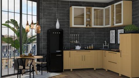 Black and wood kitchen - Kitchen  - by Victoria_happy2021