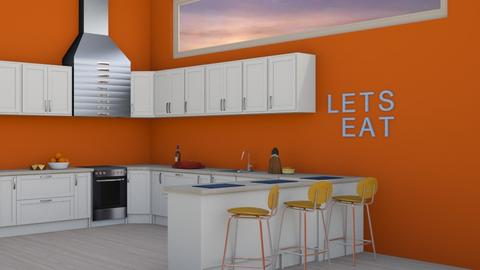 Red Wall - Kitchen  - by designcat31