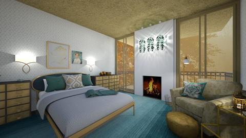Turquoise and Gold - Bedroom - by amyskouson
