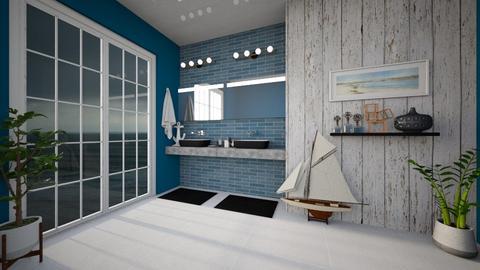 Dark sea bathroom - Bathroom  - by Linzee_el529