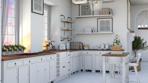 Elegant White - Rustic - Kitchen - by NEVERQUITDESIGNIT