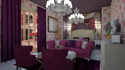 Elegant Pink and Purple - Glamour - Bedroom  - by Chel_0270