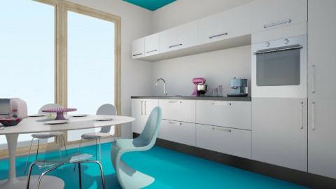 blue half white layout - Kitchen - by melbapink8