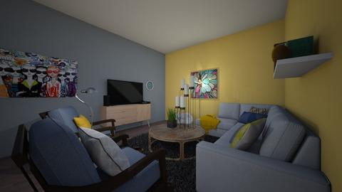 Yellow a Blue Family Room - Modern - Living room - by Meadow_Wolfy
