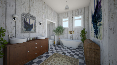 boho bath - Bathroom  - by aerifia