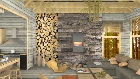 Modern log cabin - Living room  - by liling