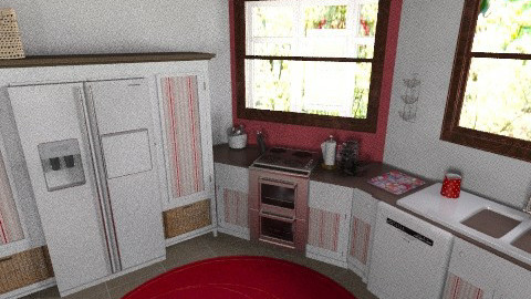 red kitchen finished - Classic - Kitchen  - by Tiffany12983