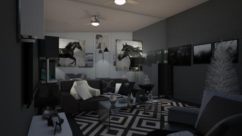black white nd shiny - Living room - by the recreator2