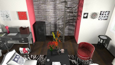 Red White and Black - Eclectic - Office  - by BriOtaku