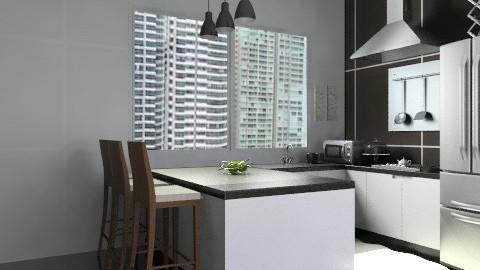 kitchen black decor  - Modern - Kitchen  - by sahfs