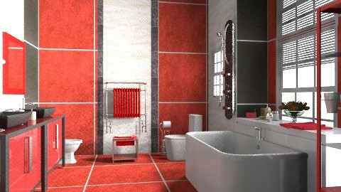 Red_2 - Modern - Bathroom  - by milyca8