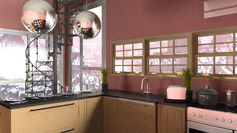 Kitchen Flat - Retro - Kitchen  - by elysemarie
