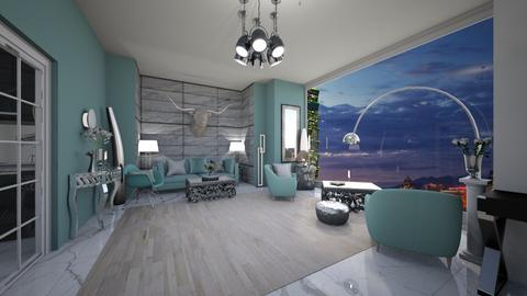 silver turquoise living  - Glamour - Living room  - by tiana24