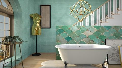 Turquoise metal bathroom - Bathroom - by KimAlys