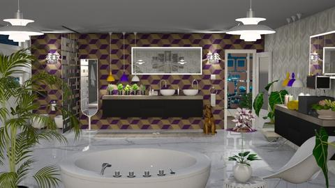 City Night Lights - Retro - Bathroom  - by LuzMa HL