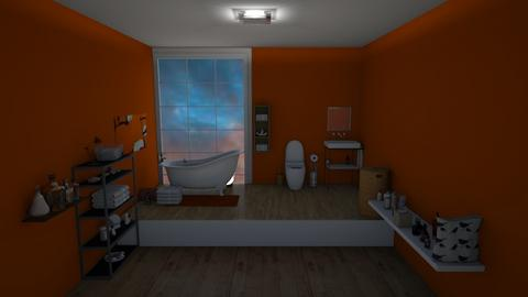 orange and white bathroom - Bathroom  - by rhod365