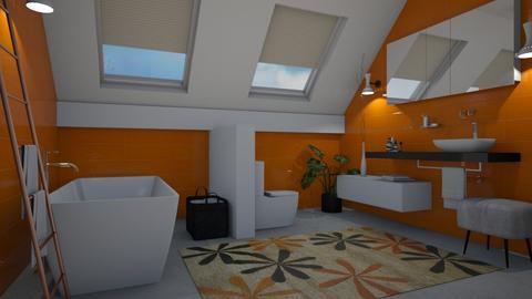 White and orange - Bathroom  - by Tuija
