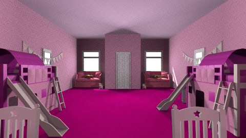 Twin Girls room - Glamour - Bedroom - by Azick2375