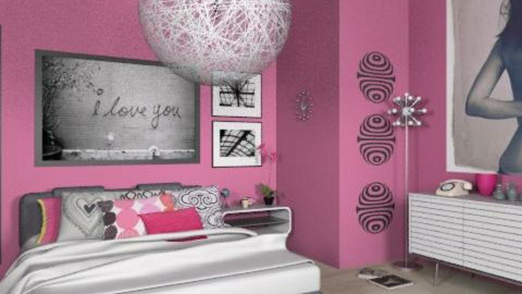 teenage girl - Retro - Bedroom  - by Andrea_